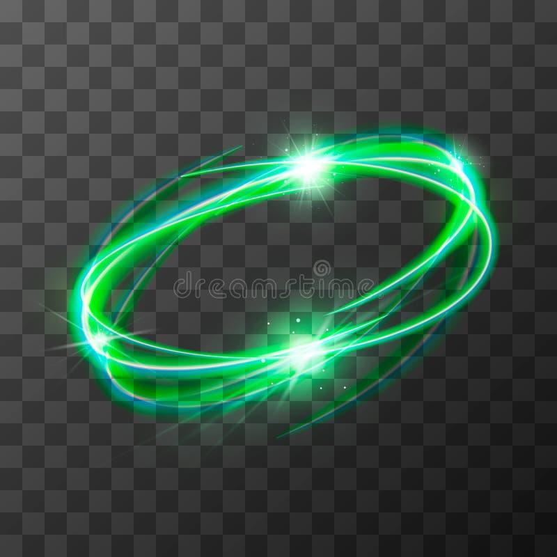 霓虹模糊的漩涡,在行动的绿色不可思议的轻的足迹作用 在透明背景的光亮圆环 皇族释放例证