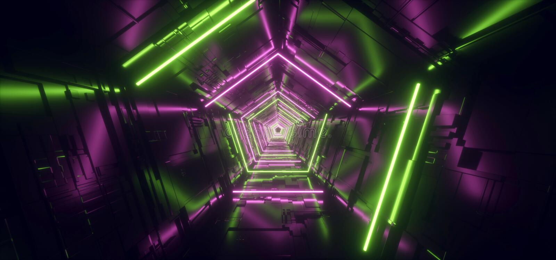 霓虹浅紫色的绿色亢奋五角形三角详细的科学幻想小说未来派外籍人太空飞船反射性金属走廊隧道门 库存例证