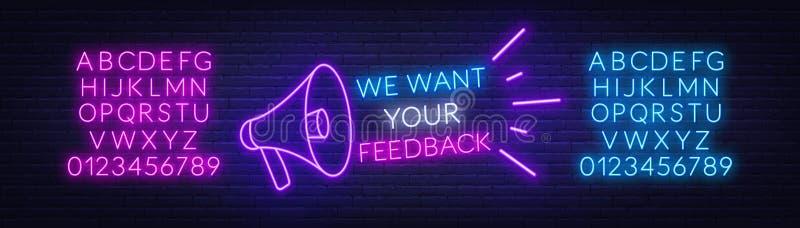 霓虹消息我们想要您的与一台扩音机的反馈在黑暗的背景 向量例证