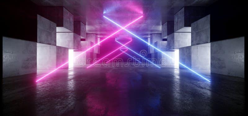 霓虹灯三角图表发光的紫色蓝色充满活力的真正科学幻想小说未来派隧道演播室阶段建筑车库指挥台 向量例证