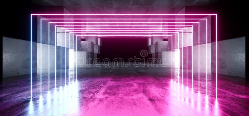 霓虹灯图表发光的紫色蓝色充满活力的真正科学幻想小说未来派隧道演播室阶段建筑车库指挥台太空飞船 皇族释放例证