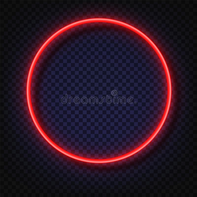 霓虹灯圆的横幅 传染媒介霓虹灯框架标志 在透明隔绝的现实发光的红色霓虹圆的框架 向量例证
