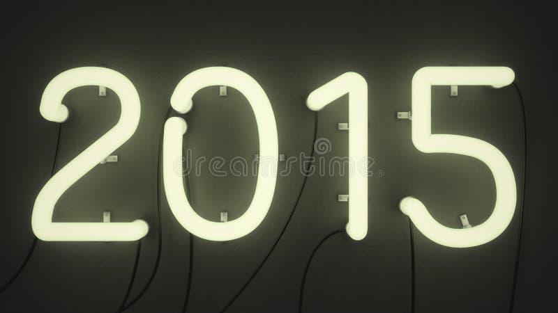 霓虹灯塑造了以第的形式2015年 免版税库存图片