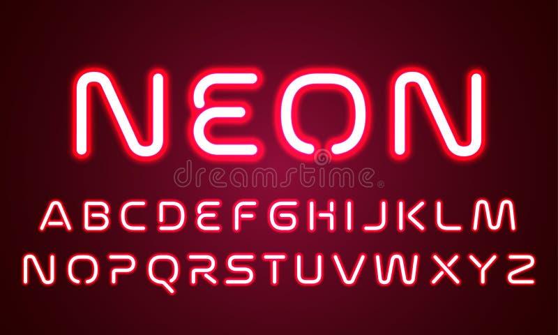 霓虹灯字母表字体信件 字体字母表,红色被带领的轻的灯的传染媒介红色紫外霓虹焕发作用 库存例证