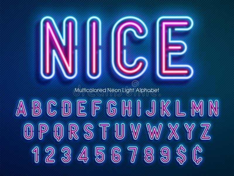 霓虹灯字母表,多彩多姿的额外发光的字体 向量例证
