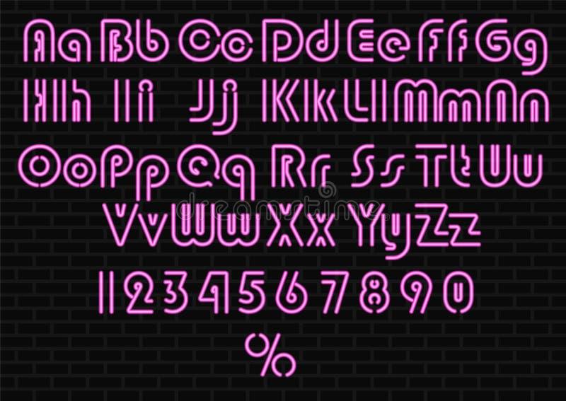 霓虹灯字母表 库存例证
