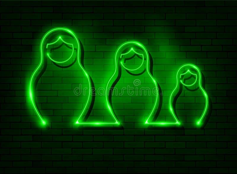 霓虹灯广告俄国嵌套玩偶matrioska,设置了俄罗斯的被点燃的标志象标志 绿色集合霓虹Matryoshka时尚样式带领了 皇族释放例证