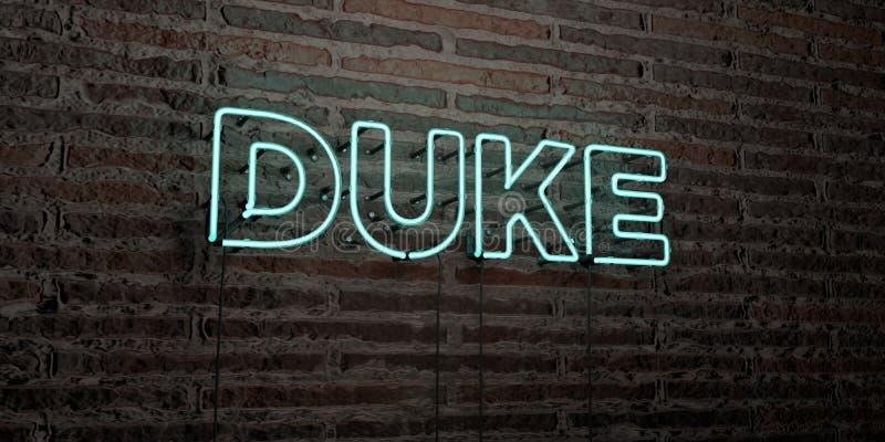 霓虹灯广告公爵-在砖墙背景的现实- 3D回报了皇族自由储蓄图象 库存例证