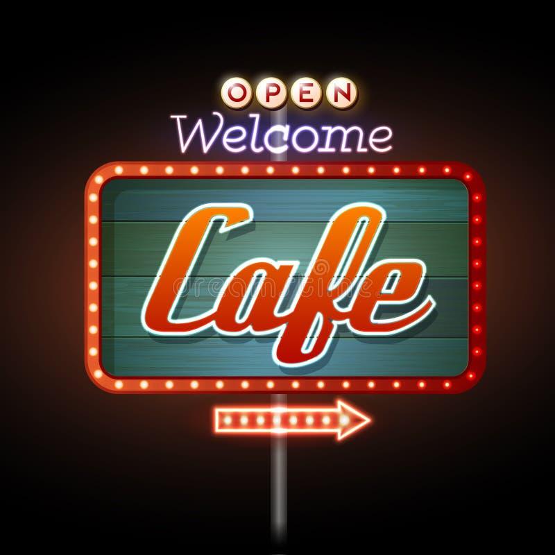 霓虹灯广告咖啡馆 皇族释放例证