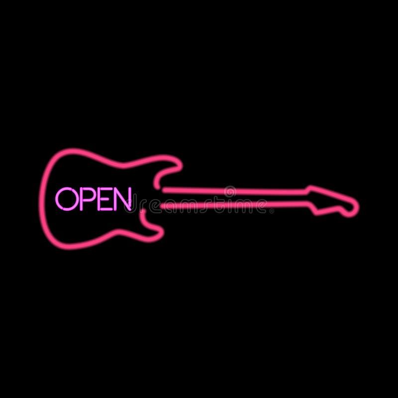 霓虹灯广告开放以吉他的形式 皇族释放例证