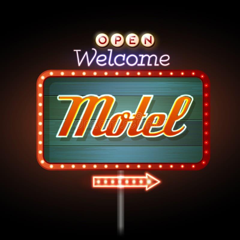 霓虹灯广告汽车旅馆 皇族释放例证
