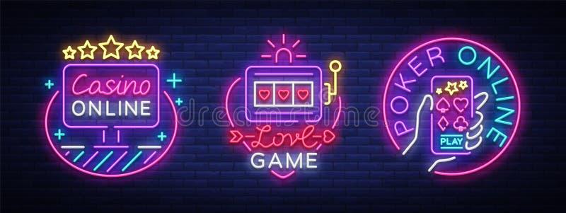 霓虹灯广告的赌博娱乐场汇集 在霓虹样式的设计模板 老虎机,啤牌网上明亮的商标字符 向量例证