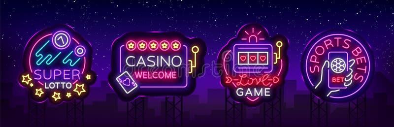 霓虹灯广告的赌博娱乐场汇集 在霓虹样式的设计模板 老虎机,啤牌网上明亮的商标字符 皇族释放例证