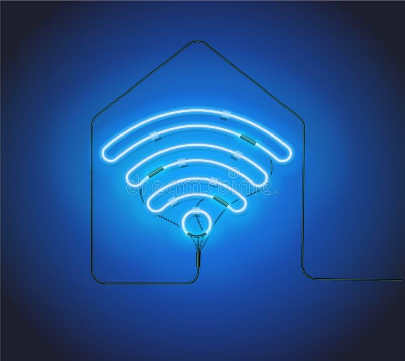 霓虹灯广告 在房子剪影背景的减速火箭的蓝色霓虹灯广告Wifi热点 免版税库存图片