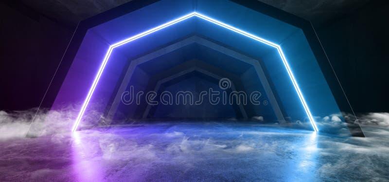 霓虹灯抽发光的紫色蓝色科学幻想小说真正未来派俱乐部阶段外籍人太空飞船混凝土水泥难看的东西隧道走廊 向量例证