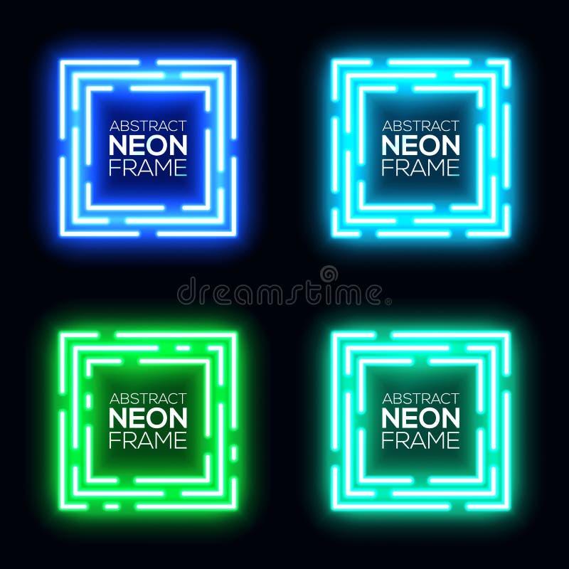 霓虹灯正方形横幅集合 光亮的techno框架 向量例证