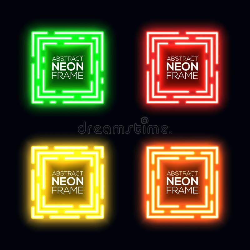 霓虹灯正方形集合 光亮的长方形techno框架收藏 在黑暗的背景的夜总会电3d横幅 库存例证