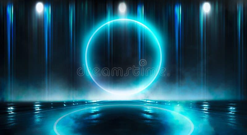 r 霓虹灯球圈子 一个黑暗,蓝色空的场面的夜视图 库存图片