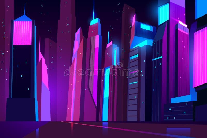 霓虹灯的夜城市 未来派都市风景 向量例证
