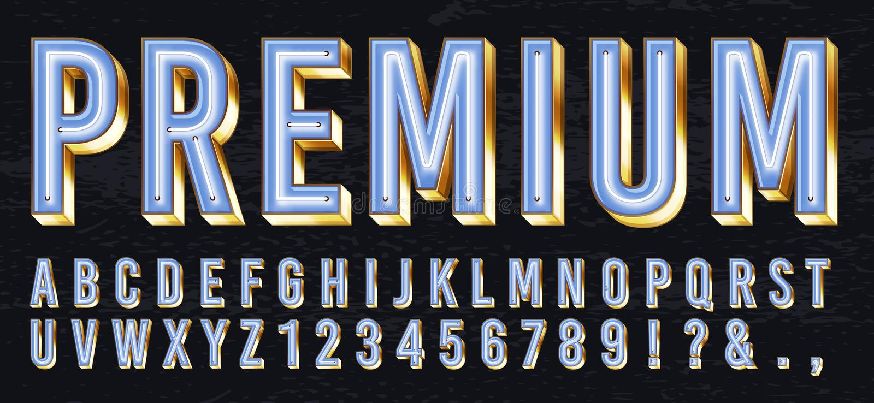 霓虹灯箱子字体 优质发光的信件、金黄字母表和精华金字法与霓虹灯3d传染媒介 库存例证