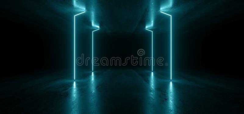 霓虹灯线图表发光的蓝色充满活力的真正科学幻想小说未来派隧道演播室阶段建筑车库指挥台太空飞船 皇族释放例证