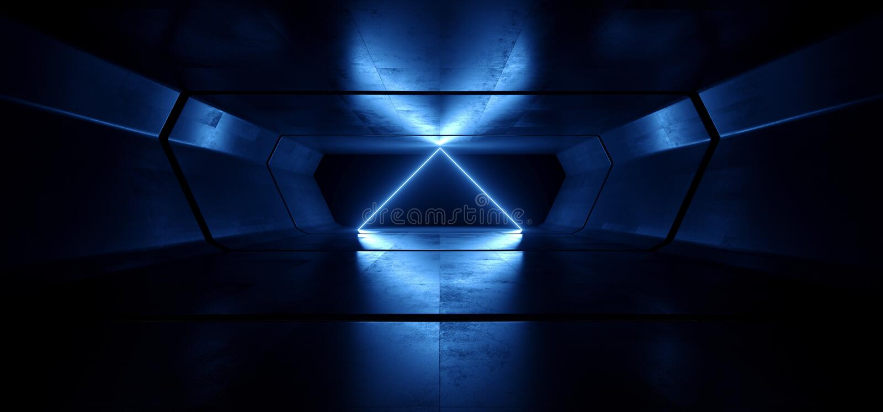 霓虹灯蓝色发光的三角曲拱科学幻想小说未来派真正难看的东西具体反射性黑暗的空的走廊隧道太空飞船 皇族释放例证