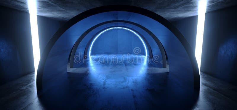 霓虹灯蓝色发光的圈子曲拱科学幻想小说未来派真正难看的东西具体反射性黑暗的空的走廊隧道太空飞船 库存例证
