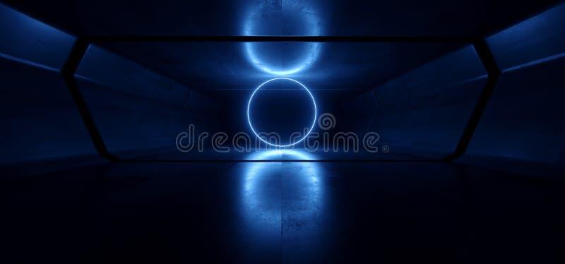 霓虹灯蓝色发光的圈子曲拱科学幻想小说未来派真正难看的东西具体反射性黑暗的空的走廊隧道太空飞船 向量例证