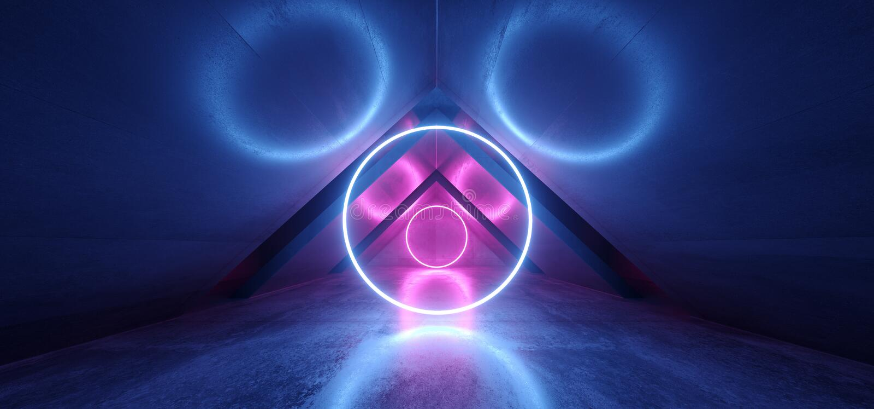 霓虹灯蓝色紫色发光的圈子曲拱科学幻想小说未来派真正难看的东西具体反射性黑暗的空的走廊隧道 库存例证