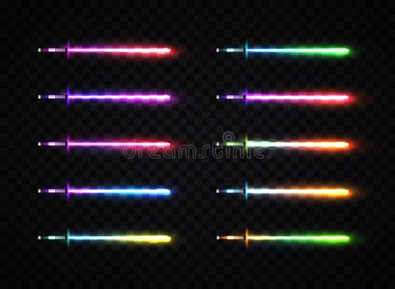 霓虹灯被设置的梯度剑 皇族释放例证