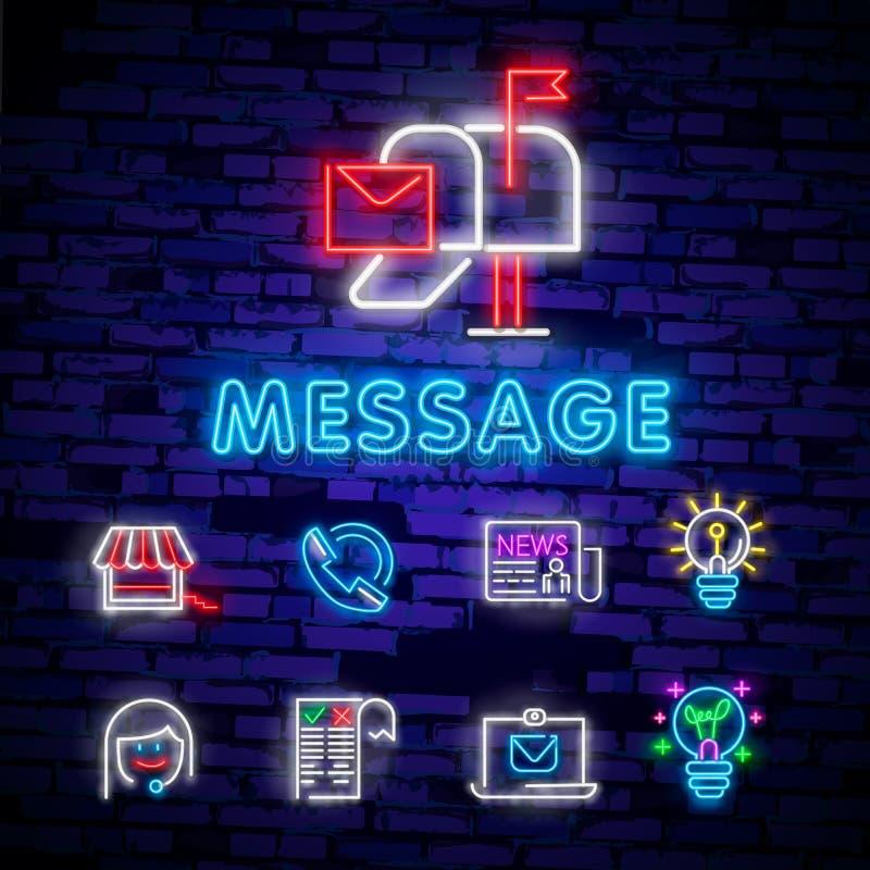 霓虹灯 邮件交付象 信封标志 消息标志 邮寄航海按钮 发光的图形设计 砖墙 向量 皇族释放例证
