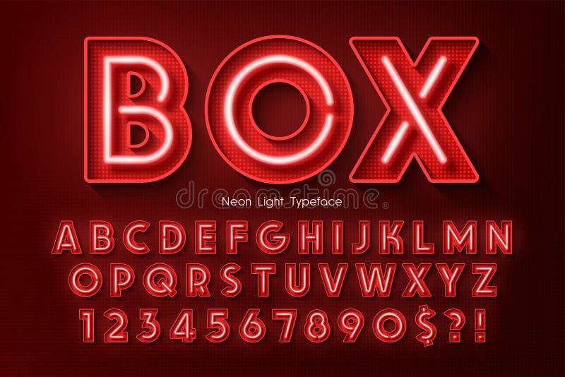 霓虹灯3d字母表,额外发光的字体 库存例证