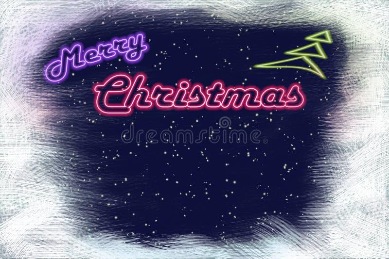 霓虹牌圣诞快乐和霓虹圣诞树 库存图片