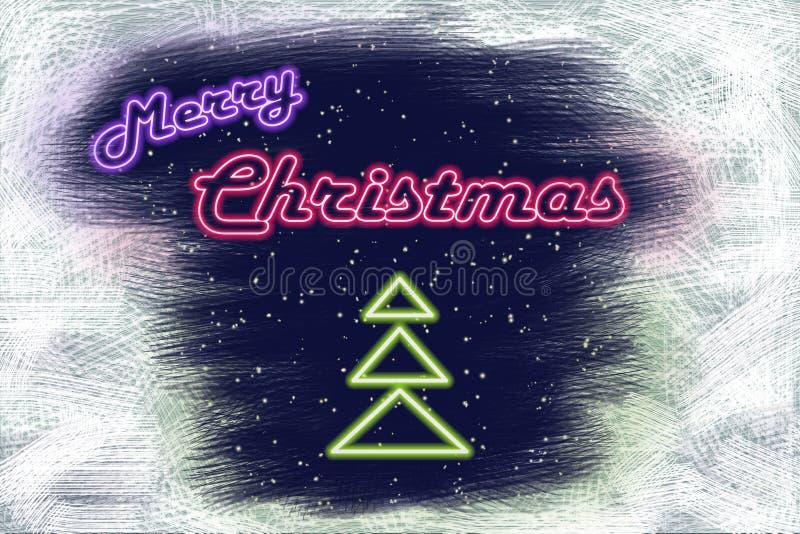 霓虹牌圣诞快乐和霓虹圣诞树 免版税库存图片