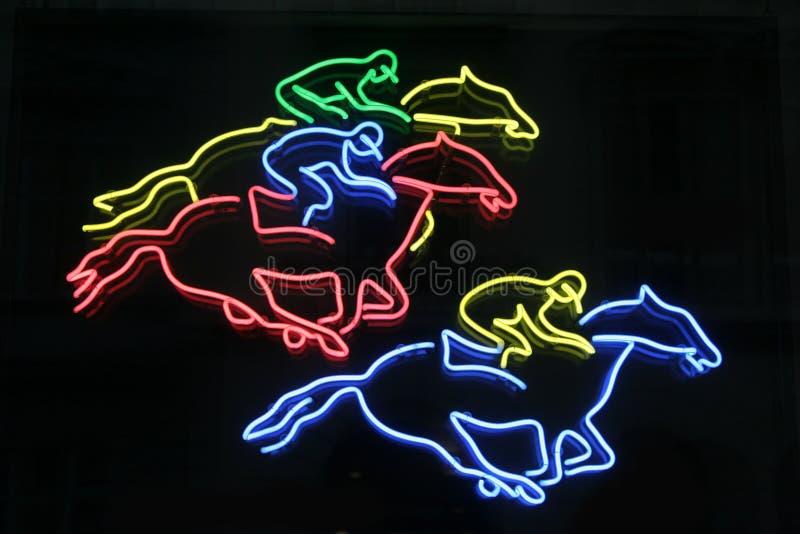霓虹的马 免版税库存照片