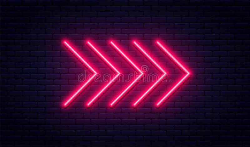 霓虹箭头标志 在砖墙背景的发光的霓虹箭头尖 与明亮的氖灯的减速火箭的牌 向量例证