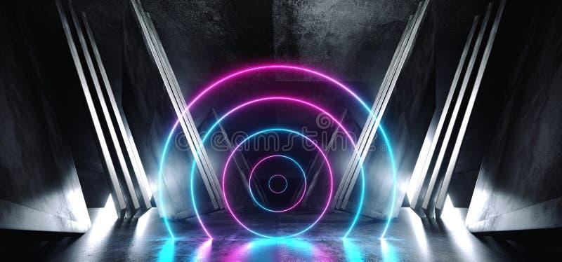 霓虹紫色蓝色发光的圈子科学幻想小说未来派真正太空飞船摘要三角塑造了光滑的金属混凝土难看的东西黑暗 皇族释放例证