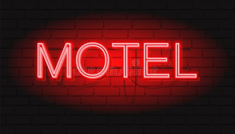 霓虹红色标志汽车旅馆 与霓虹图表样式的传染媒介例证 皇族释放例证