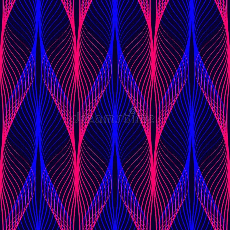 霓虹线无缝的样式 与发光的80s减速火箭的蒸气波浪样式的背景 库存例证