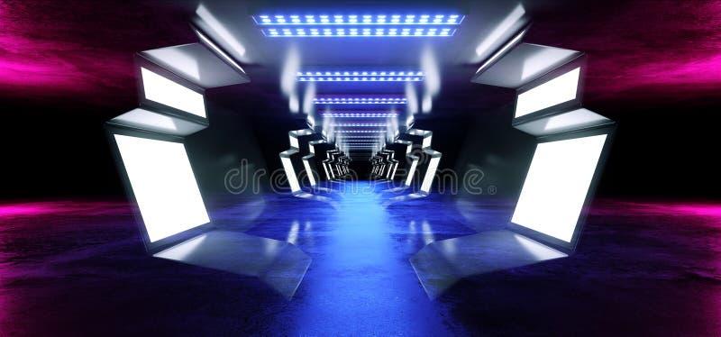 霓虹线未来派紫色科学幻想小说太空飞船发光的白色蓝色金属反射性具体地板走廊隧道走廊入口 皇族释放例证