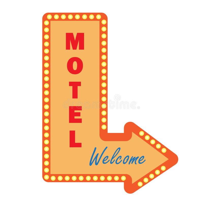 霓虹葡萄酒汽车旅馆标志电灯泡 符号欢迎 皇族释放例证