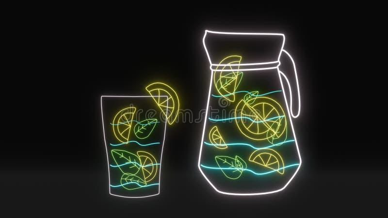 霓虹薄菏柠檬柠檬水 免版税库存照片
