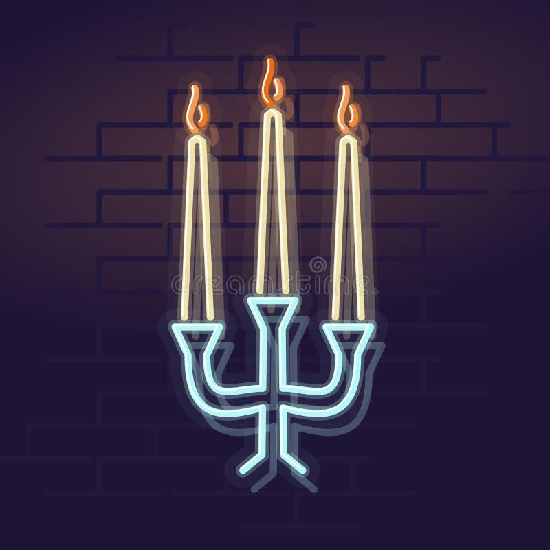 霓虹蜡烛 夜被阐明的华尔街标志 在砖墙背景的被隔绝的几何样式例证 免版税库存图片