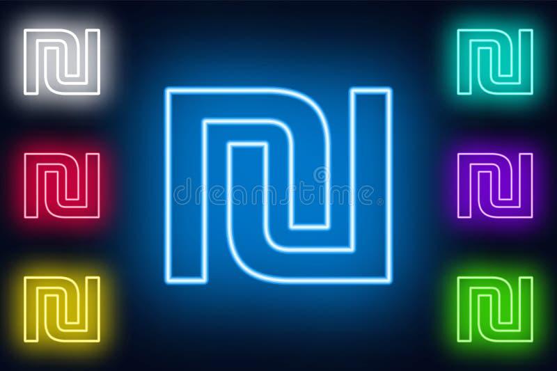 霓虹谢克尔签到在黑暗的背景的各种各样的颜色选择 向量例证