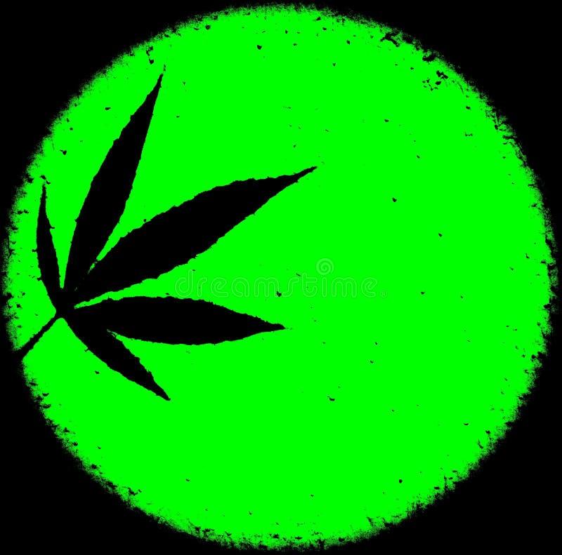 霓虹鲜绿色的大麻ganja圈子难看的东西杂乱背景设计 库存例证