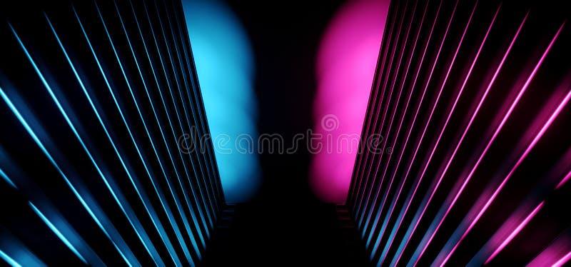 霓虹黑暗的减速火箭的科学幻想小说三角外籍人太空飞船紫色蓝色空的发光的充满活力的激光陈列室阶段走廊走廊入口 向量例证