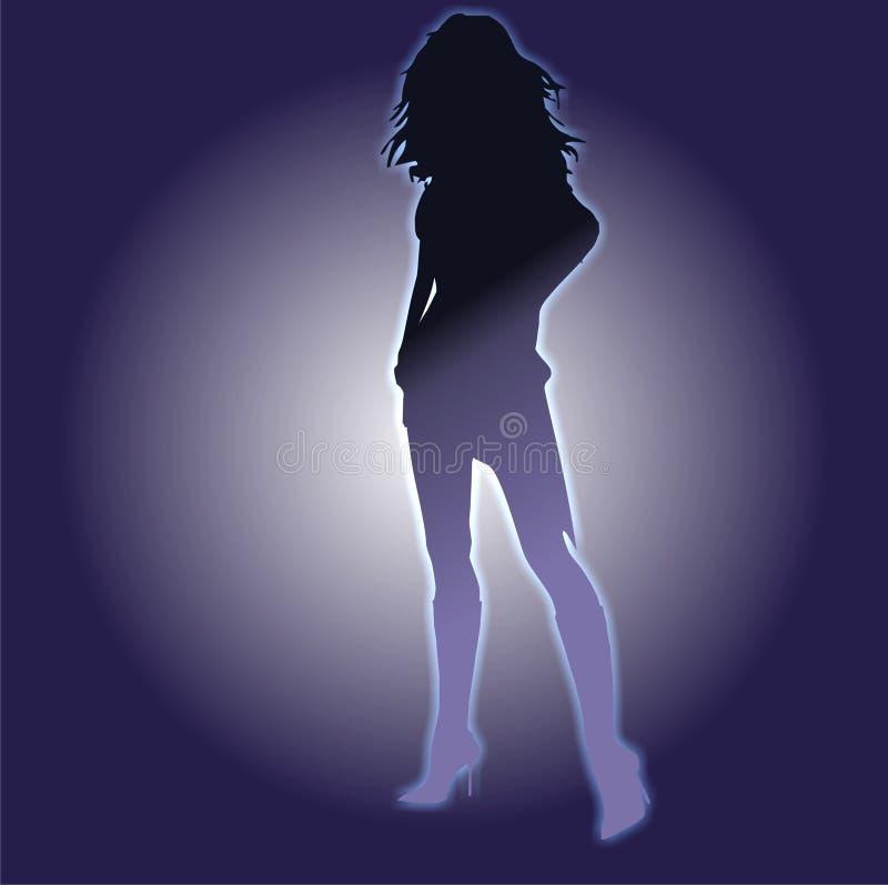 霓虹01个的女孩 向量例证