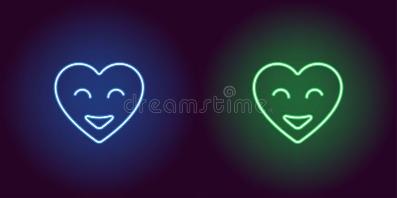 霓虹emoji心脏,与微笑的发光的心脏 向量 库存例证