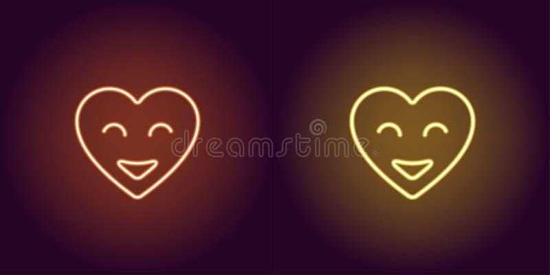 霓虹emoji心脏,与微笑的发光的心脏 向量 向量例证