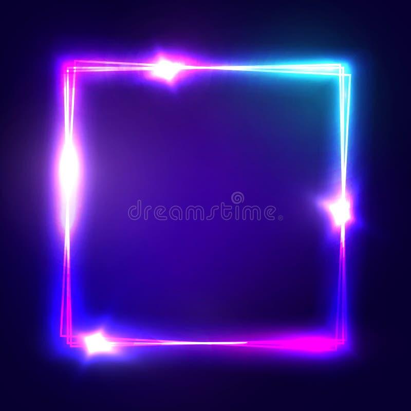 霓虹ny符号体育场美国人 与发光和光的方形的框架 皇族释放例证